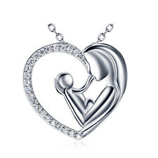 Real 925 Sterling Silver Pendant Necklace Zircon Heart Mother Baby Love Wedding
