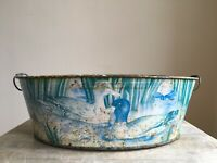 Vintage Decorative Rural Scene Tin Bowl Farmhouse Barn Distressed Salvage Patina
