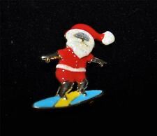 MACY'S HOLIDAY LANE SURFING SANTA PIN BROOCH NEW IN BOX $20