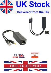 Active PoE Power Over Ethernet Splitter Adapter 48V to 12V 2Amp