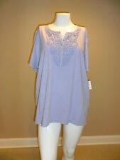 Croft&Barrow women's plus Crochet Slubbed Tee Short Sleeve 100%Coton Purple 3X