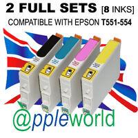 2 Sets mit Nicht-Oem Tintenpatronen Alternativen für Epson T551-552-553-554