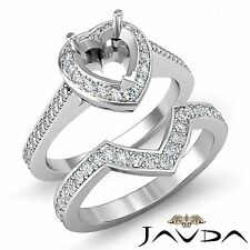 Diamond Engagement Pave Ring Heart Bridal Sets 14k Gold White Semi Mount 0.86Ct