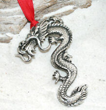 DRAGON CHINESE ASIAN Pewter Christmas ORNAMENT Holiday