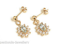 9ct Gold Blue Topaz Cluster Dangly drop earrings Made in UK Gift Boxed