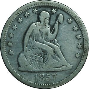 1857 Seated Liberty Quarter VF Condition