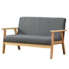 Modern 2 Seaters Sofa Armchair Upholstered Fabric Linen Seat Wooden Frame UK