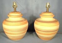 A WONDERFUL PAIR OF MID CENTURY TURNED OLIVE JAR CERAMIC POTTERY PAINTED LAMPS