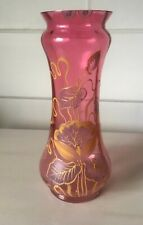Victorian Blown Glass Vase Cranberry With Enameled Flower Design 10' Excellent