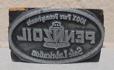 Vintage Pennzoil Printing Block Sign Maker Gas Station Motor Oil