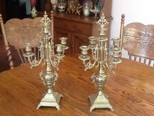 Pair of Beautiful Ornate Brass 5 Arm Candelabras