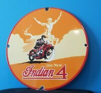 VINTAGE INDIAN MOTORCYCLE PORCELAIN GAS AMERICAN SPIRIT BIKER 4 CHIEF SIGN