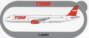 ~ TAM AIRLINES ~ Airbus A321 Sticker / Decal ~ RARE ~
