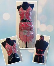 Vtg Authentic 2-Piece Belly Dancer Costume Halter Wrap Skirt Heavy Beading Coins