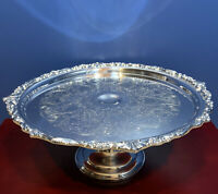 """Sheridan English Scroll Silver On Copper Cake Stand Serving Dish 12.25""""x5.5"""""""
