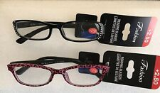 Womens Fashion Reading Glasses Black Rhinestone & Pink Cheetah Print +2.50 2Pk