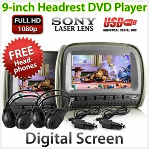 "9"" Full HD Grey Headrest Car 2 DVD Players USB Games Monitor Pillow Headphones G"