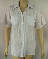 BeMe White Embossed Cotton Short Sleeve Button Top Tunic Plus Size 16 BNWOT #S56