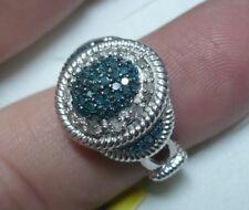Blue & White Diamond Ring Size 6  58 diamonds .48tcw  MSRP$939