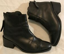 Folk Black Ankle All Leather Lovely Boots Size 36 (144Q)