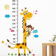 Giraffe Monkey Tree Kids Height Measure Wall Stickers Boy Girl Growth Chart WH