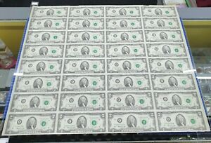 1976 Uncut Sheet 32X US$2 Federal Reserve Note Bicentennial Commemorative Issue