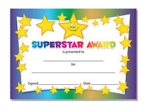 'Superstar' -  Award certificates, Schools,Teachers, kids - 16 x A6 cards