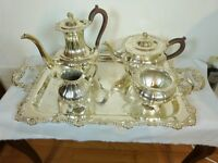 "RIDEAU PLATE BY BIRKS 5 PC. GADROON & SHELL TEA & COFFEE SET with 25 1/2"" TRAY"