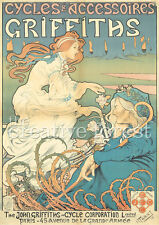 VINTAGE BICYCLE POSTER, 1898 Griffiths Cycles Art Nouveau CANVAS PRINT 24x32 in.