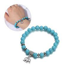 Bohemian Turquoise Bracelet Round Beads Bangle Elephant Pendant Tibet Silver
