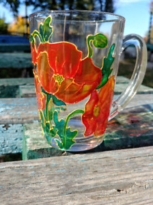 Handmade poppy, stained glass fragment, personalized present