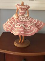 Handmade Crocheted Barbie's Sister Skipper Doll Dress Pink And White Vintage