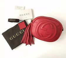GUCCI Soho GG Mini Red Leather Chain Bag with Tassel & Gold Hardware VGC £1175