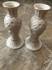 Pair Of Large 6 3/4 Lenox Candlestick - Candle Holders(Gold Trim)(Winter)