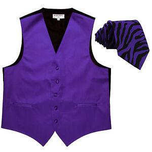 New Men's Formal Vest Tuxedo Waistcoat Purple & Purple Zebra Necktie wedding