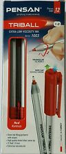 12 Excellent Quality Red Ballpoint Pens. Nickel Swiss Tip. Triangular. Easy Grip