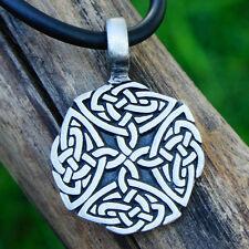 Celtic Quad Knot Triquetra Clovers Cross Pagan Wicca Pewter Pendant w Black Cord