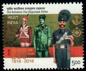 India 2018 3rd Battalion Rajputana Rifles 200 years Military stamp 1v mNH