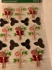 RECOLLECTIONS 3D STICKERS CHRISTMAS CANES AND HOLLY STICKERS NEW