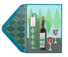Papyrus  Happy Birthday greeting card Argyle Bag & Wine Bottle