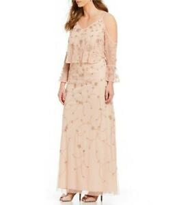 ADRIANNA PAPELL® Plus Size 18W Blush Cold Shoulder Beaded Gown NWT $279