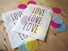 10x modern style 'love, love, love' confetti bags for wedding, party, favours