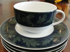 CRATE & BARREL GREENWICH  4 CUPS AND 4 SAUCERS