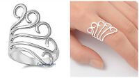 Sterling Silver 925 PRETTY SCROLL FREEFORM DESIGN SILVER RING 28MM SIZES 5-12