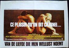 CARNAL KNOWLEDGE Belgian movie poster JACK NICHOLSON ANN-MARGRET GARFUNKEL