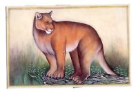 Handmade Indian Miniature Painting Of Animal Art On Plate Finest Art Of Panther