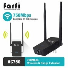 Farfi AC750 WiFi Range Extender Booster Repeater, Dual Band 2.4GHz/5GHz 750Mbps