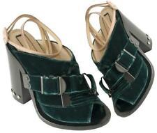 $800 N 21 Viola Velvet Strappy Rhinestone Block Heel Sandals Green Black 5 35
