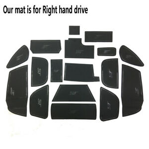 Black Rubber Inner Gate Slot Pad Non-slip Cup Mats fits Ford Focus ST 2015-2018