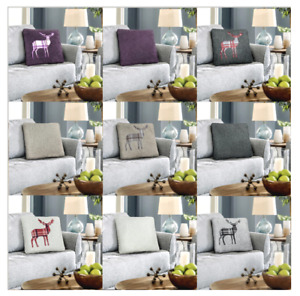 Warm Fluffy Teddy Stag Check Sofa Cushion Covers Only or with Inner Home Decor